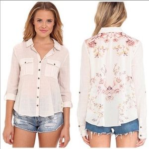 Free People Floral Party In The Back Button Down